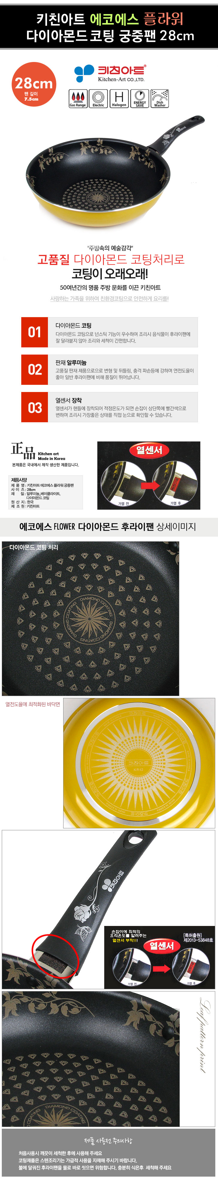 [ KITCHENART ] KitchenArt Eco S Diamond Flower Temperatursensor Wokpan 28cm